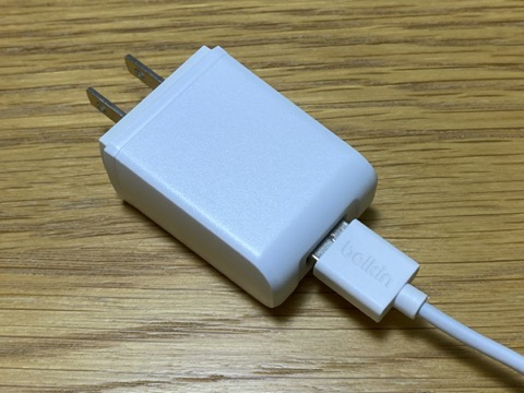 USBコードからACアダプタへ