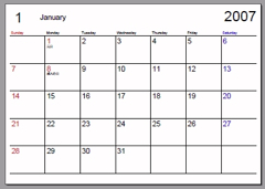 印刷用Calendar2007