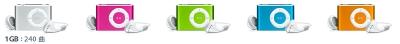 5色のiPod shuffle